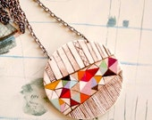 Hand painted geometric pendant - one of a kind- 02