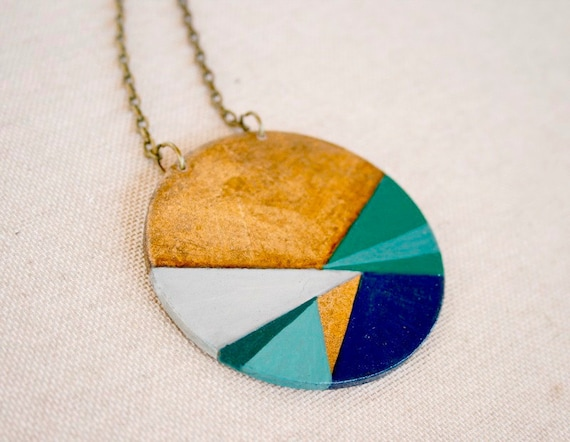 Geometric hand painted pendant - blue- aqua green - Large