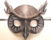 Great Horned Owl Leather Mask  READY TO SHIP