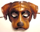 Dog Leather Mask bully dog type in brown with black Mastiff Bulldog Boxer READY TO SHIP