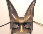 Rabbit Leather Mask in Brown Grey and Black just a little bit creepy or goth in the detail...