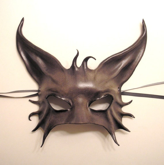 Cat Creature Leather Mask in Smokey Greys with Black