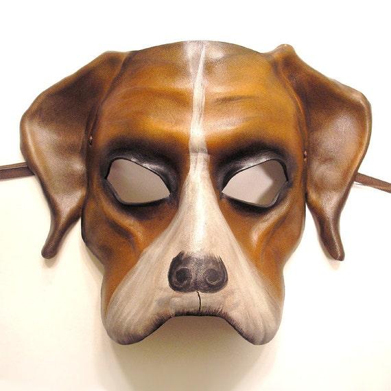 Dog Leather Mask Boxer Mastiff Bulldog bully dog or