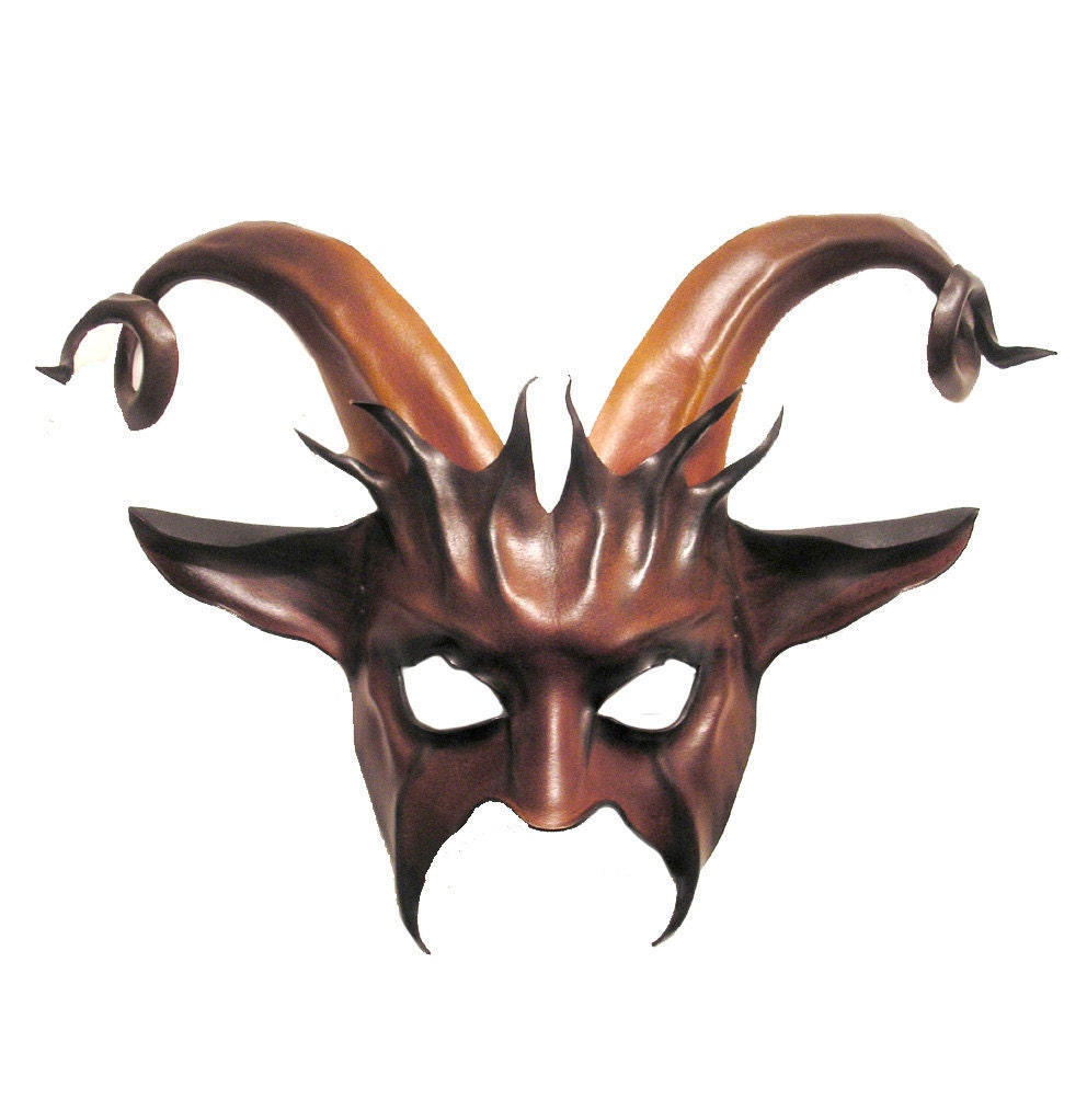Leather Goat Mask with Curled Horns krampus baphomet
