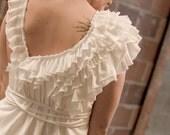 womens cotton ruffled slip dress / white winged dove dress.  womens knee length organic cotton ruffled slip dress