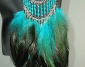 Native American Indian, Tribal, Exotic, Turquoise and Green Feather with Turquoise Wooden Beads and Chain Necklace