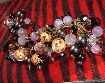 Amethyst, Carved Crystal,  Hematite Charm Bracelet, Multi Stones, Gold Painted Onyx on Brass Chain, Cathedral Glass Beads
