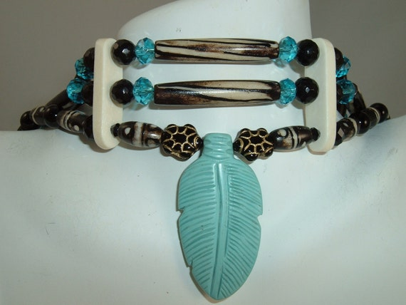 ON SALE Turquoise, Natural Bone, Crystal, Native American Indian Choker, with Glass Turtles and Black Onyx