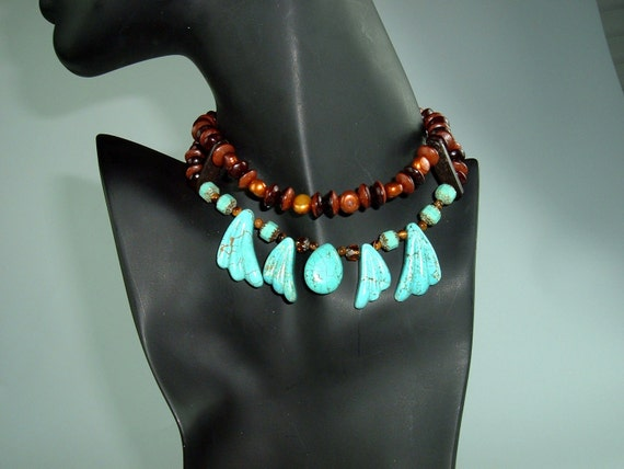 SALE Turquoise Wings, Bone, Pearls, Tigers Eye and Leather Choker, Bohemian, Tribal, Trendy, Chunky, OOAK