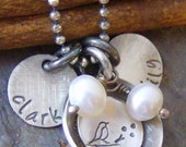 Momma Bird and her nest...hand stamped sterling sivler mothers necklace
