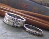 wider Personalized stackable stacking rings Thicker version ...hand stamped fine silver stacking rings.