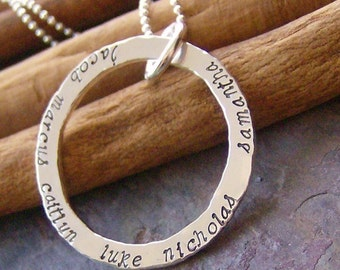 Smaller Eternity ring........hand stamped fine silver mothers necklace