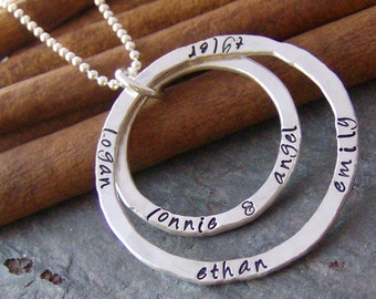Double eternity ring.... hand stamped personalized sterling silver necklace