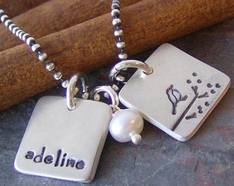 little squares....hand stamped fine silver name necklace