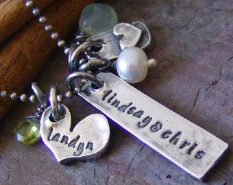 mini eclectic love... hand stamped sterling and fine silver rustic name necklace with gem stones