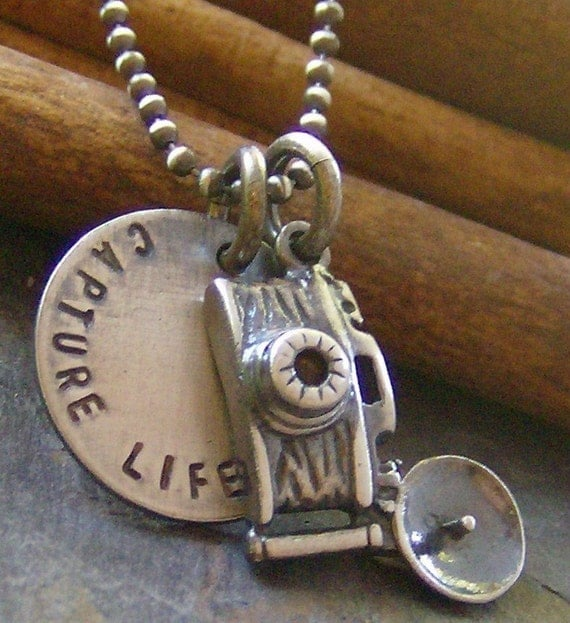 Capture Life...Rustic version....hand stamped sterling silver camera photography necklace