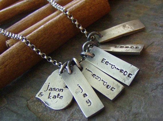 Rustic mom......hand stamped fine silver family necklace
