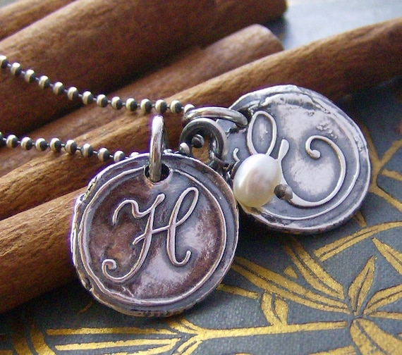 hand stamped personalized wax seal inital necklace...Double Vintage letters with pearl... fine silver and sterling silver