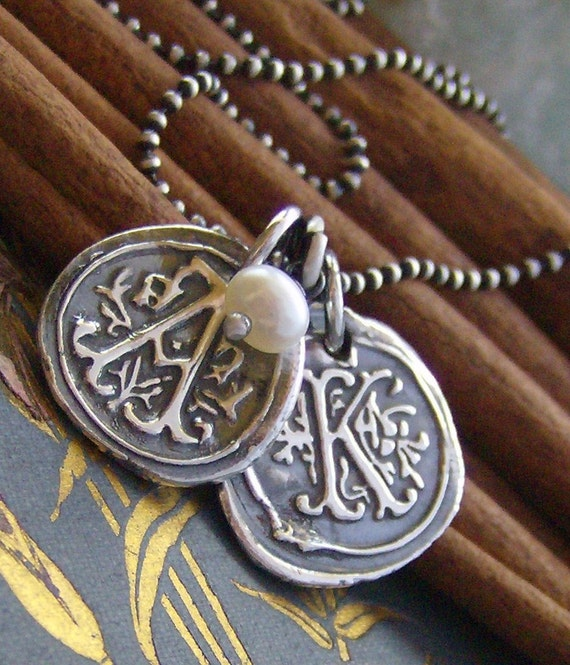 Double Vintage letters with pearl... hand stamped fine silver wax seal initial necklace personalized