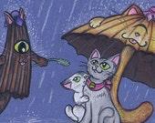 Caught in the Rain Nyokai Postcard