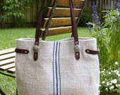 Antique Linen Grain Sack Handbag