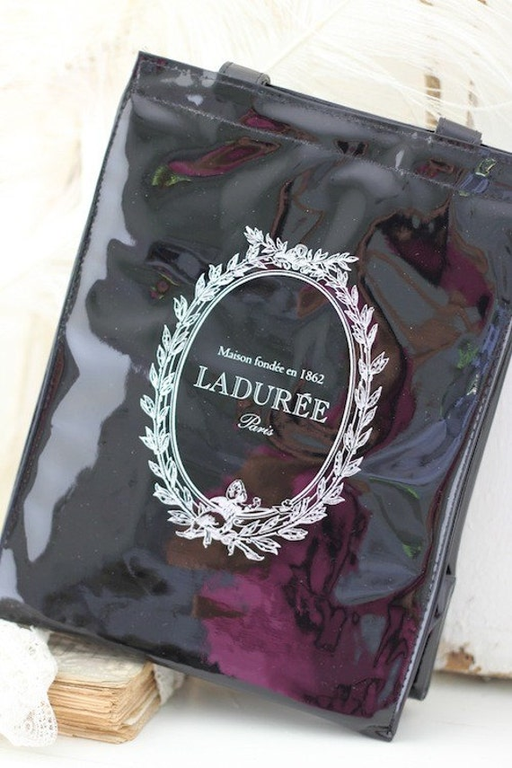 Laduree Paris Insulated Lunch Bag Black Patent Look New