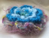 Mohair 4 layers knitted flower brooch -- purple-turquoise-pale blue
