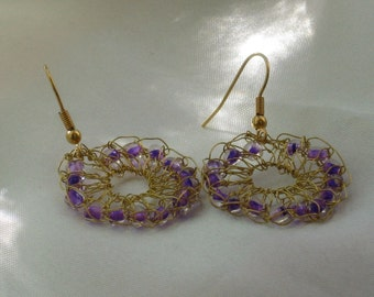 Wire knitted earrings with purple glass beads