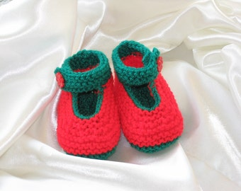 Red and green knitted mary jane baby booties