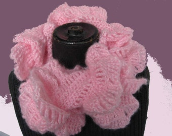 Pink mohair ruffled knitted scarf