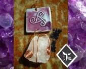Reserved for SpunOutOriginals -  SkySpirit Pendant - Rose Quartz and Porcelain with Copper Wire