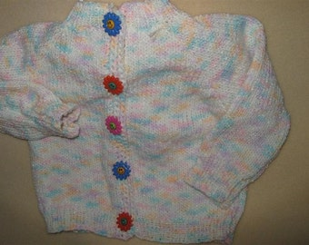 funky pastels hand knit baby sweater - 0-6 months