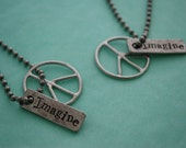 You and Me necklaces Imagine with Peace sign