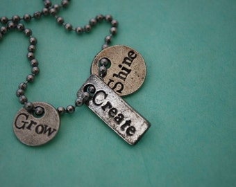 Custom 3 charm pewter inspirational necklace.  Make it personal...