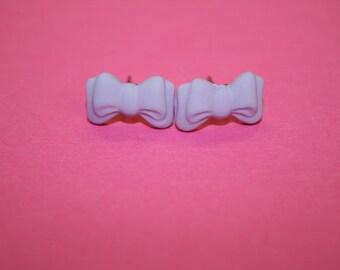 Tiny Lavender Bow Stud Earrings
