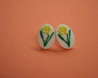 Small Yellow Flower Cameo Earrings