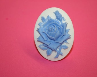 Large Light Blue Rose Cameo Ring