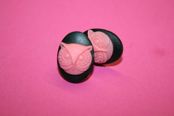 SALE Small Pink Owl Cameo Earrings