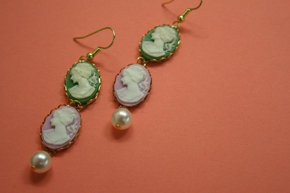 SALE ITEM...SMALL GREEN AND LAVENDER LADY CAMEO DANGLY EARRINGS