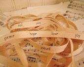 Peace Hope Love Joy  - Cotton Twill Ribbon