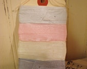 12 Yards Vintage Seam Binding - Silver, Soft Pink,  Milky White, And Nickel Grey - 3 Yards Each