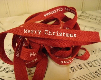 Merry Christmas - Cotton Twill Ribbon - 3 Yards
