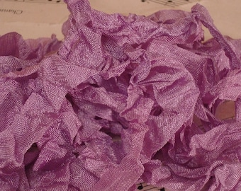 6 Yards Hand Scrunched Seam Binding - Lavender