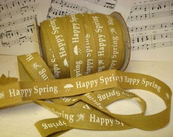 Happy Spring - Cotton Twill Ribbon - 3 Yards