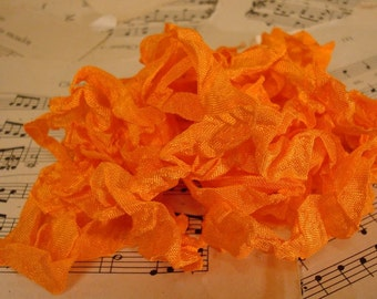 6 Yards Hand Scrunched Seam Binding - Orange