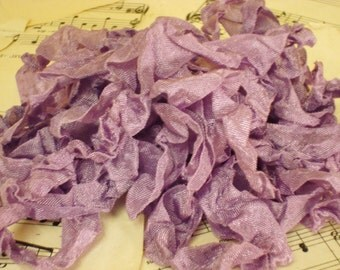 6 Yards Hand Scrunched Seam Binding - Grape