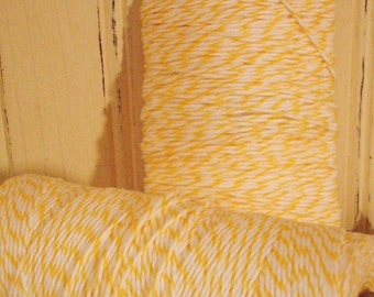 Lemon Yellow and  Bright  White Baker's Twine - 20 Yards