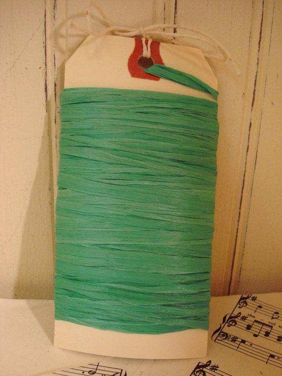 Emerald Raffia Ribbon - 10 Yards - Matte