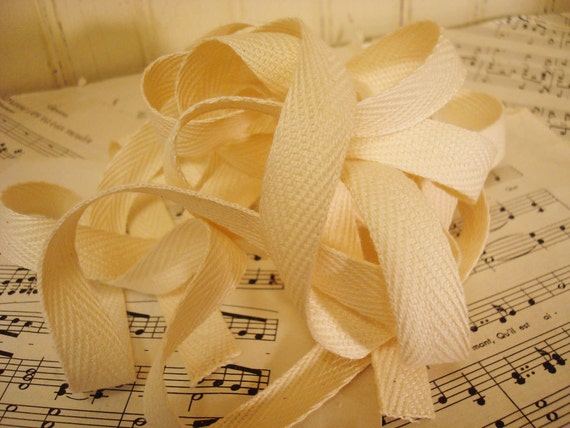 "3 Yards Blank Cotton Twill Ribbon -  Natural Color - 1/2"" Wide"