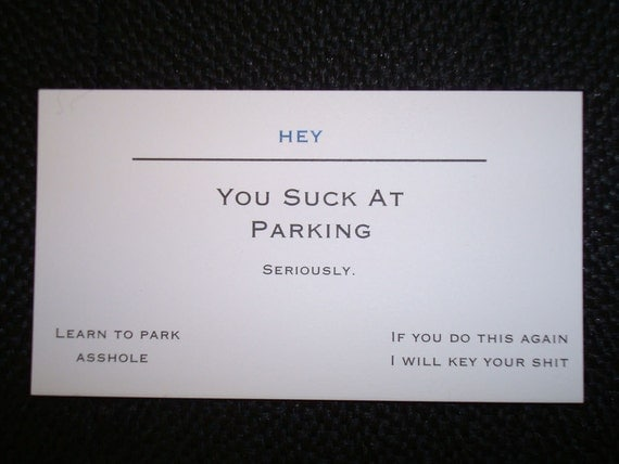 You Suck At Parking Business Cards Set of 25